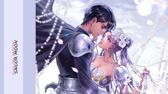 Обои Princess Serenity / Принцесса Серенити / Usagi Tsukino / Усаги Цукино с парнем из аниме Сейлор Мун / Sailor Moon