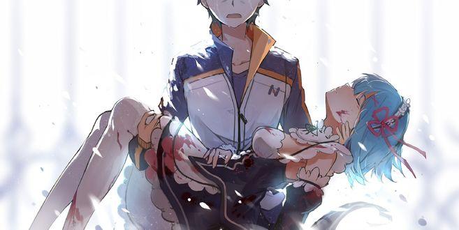 Обои Раненная Rem / Рем и Natsuki Subaru / Натсуки Субару из аниме Re: Жизнь в альтернативном мире с нуля / Re:Zero kara Hajimeru Isekai Seikatsu