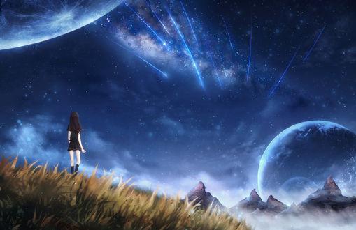 Обои Девушка стоит в траве на фоне космоса, by CZY