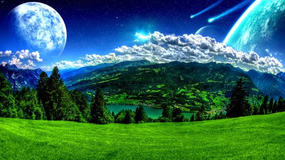 Обои Дневной пейзаж природы на фоне космического звездного неба