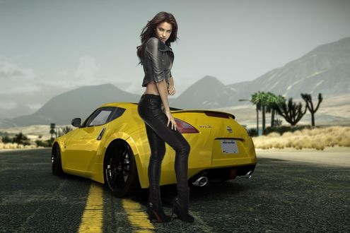 Обои Ирина Шейк / Irina Shayk позирует рядом с желтым Nissan 370Z на фоне природы