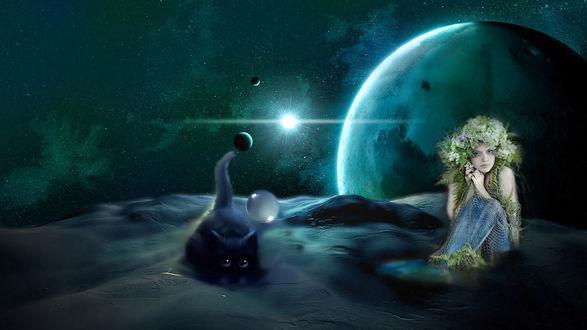 Обои Кот и русалка с венком из цветов на голове в космическом пространстве
