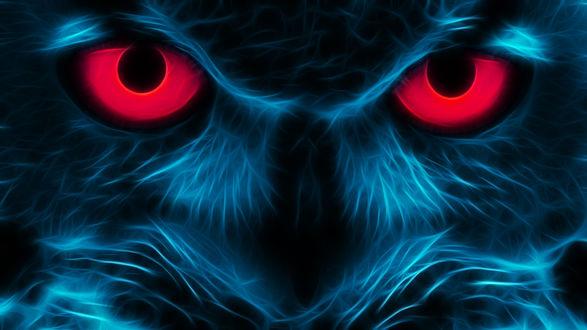 Обои Неоновый филин с красными глазами