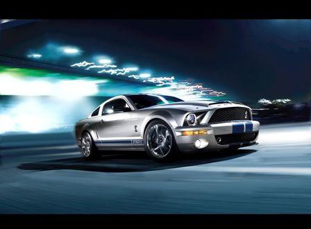 Обои Серебристый Ford Shelby Mustang GT500KR / Форд Мустанг, несущийся по ночной дороге