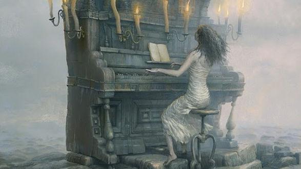 Обои Девушка играет на рояле при свечах, иллюстратор Андрей Ферез