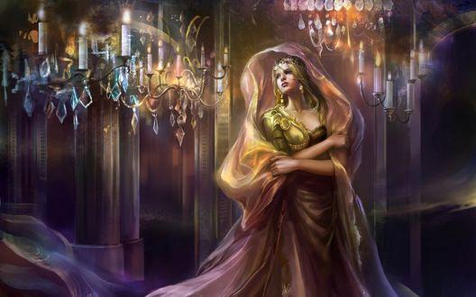 Обои Девушка в замке при свечах