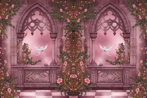 Обои Розовый арки с цветами и голубями