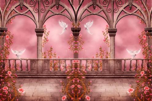 Обои Арки и балкон с цветами и голубями
