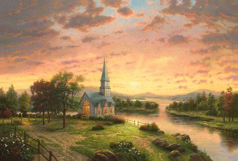 Обои Церковь на берегу реки под закатным небом, by Thomas Kinkade
