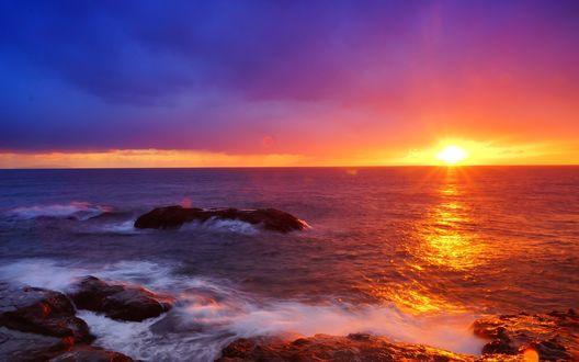 Обои Побережье океана на закате