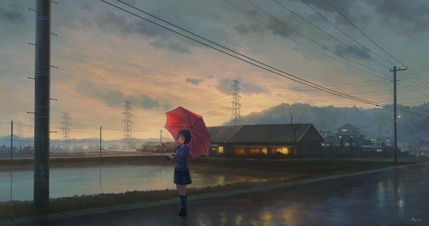 Обои Девушка с красным зонтом стоит на набережной