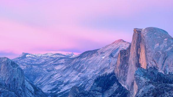 Обои Синие горы под розовым небом, by CarlosTown
