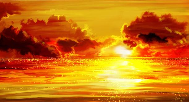 Обои Море на фоне заката