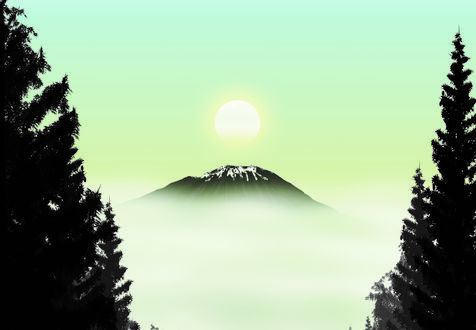 Обои Солнце ранним утром над горой