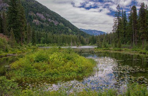 Обои Прекрасное Howard Lake in North Cascades / озеро Говард в Национальном парке Северный Каскад, фотограф SandyK29