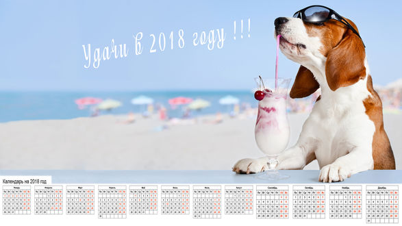 Обои Календарь на 2018 г. с собакой на пляже (Удачи в 2018 году!)