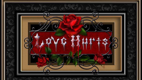 Обои Красная роза в рамке с вензелями, с надписью Love Hurts / Любовь ранит