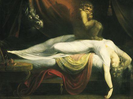 Обои Демон возле спящей девушки на кровати в белом