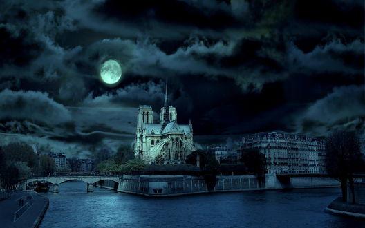 Обои Собор Парижской богоматери / Париж, Франция / Paris, France и река Сена ночью под луной