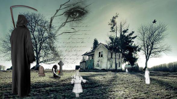 Обои Смерть с косой, приведения детей и девушки возле креста, разрушенный дом и глаз на небе