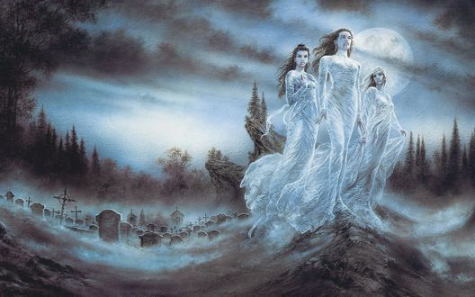 Обои Три вампирши под луной на кладбище, by Luis Royo
