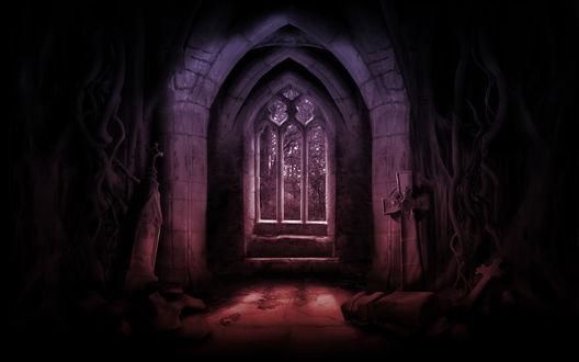 Обои Готическая арка в призрачном помещении с видом на лес