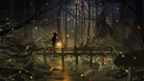 Обои Человек с фонарем в руке идет по мосту в осеннем ночном лесу, на свет фонаря летят светлячки