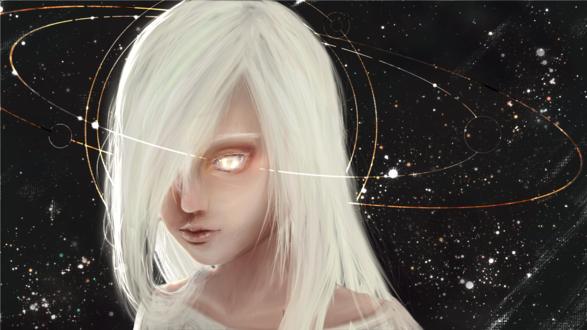 Обои Белокурая девушка на фоне космоса, by b1tterRabbit