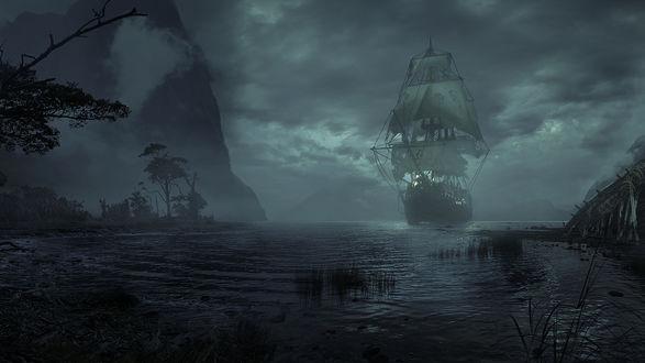 Обои Парусник на воде на фоне ночного неба