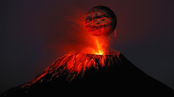 Обои Действующий огненный вулкан