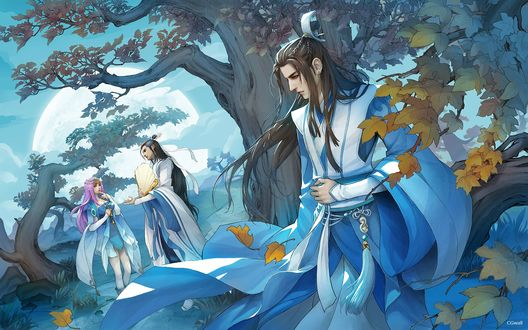 Обои Длинноволосый парень в китайской одежде, стоя за деревом, наблюдает за встречей парня и девушки