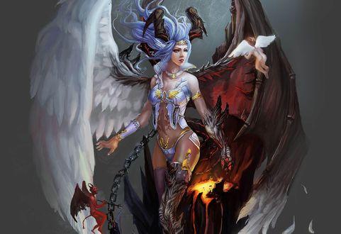 Обои Девушка наполовину-ангел, наполовину-демон, прикованная цепью и летающие, вокруг нее, ангелочек и черт