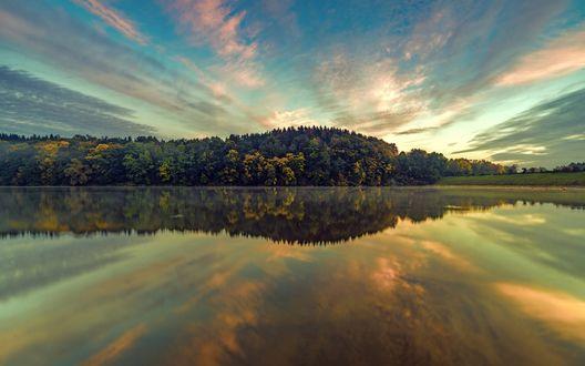 Обои Лес под облачным небом перед озером, в котором он отражается