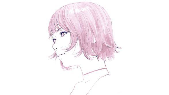 Обои Девушка с розовыми волосами в профиль, by Кувшинов Илья
