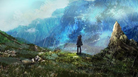 Обои Девочка с рюкзаком за спиной стоит на холме под дождем