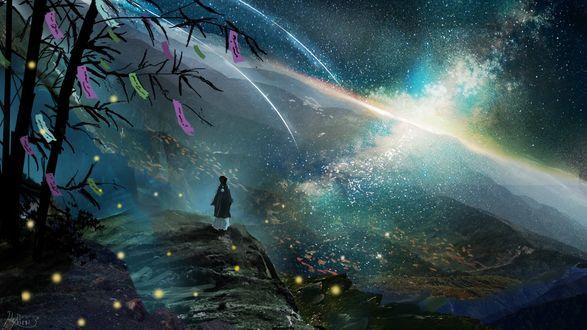 Обои Человек стоит на вершине холма на фоне ночного неба и млечного пути