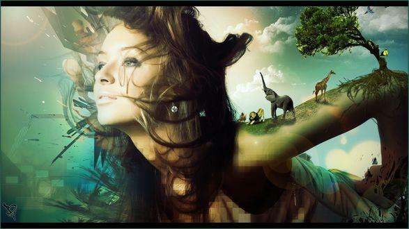 Обои Девушка, смотрящая вдаль, на руке которой находятся животные и дерево с птицей на фоне неба