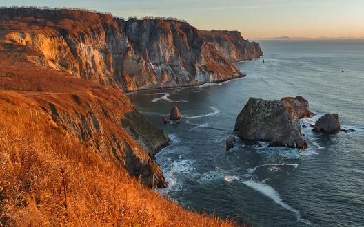 Обои Рассвет над Бухтой Гротовая в Тихом океане, Камчатка, by Дарья