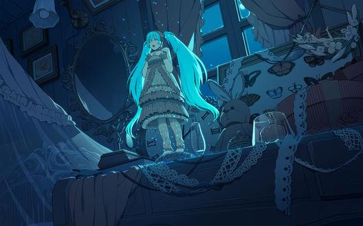 Обои Vocaloid Hatsune Miku / Вокалоид Хатсуне Мику поет колыбельную, стоя на комоде, ночью в спальне у окна