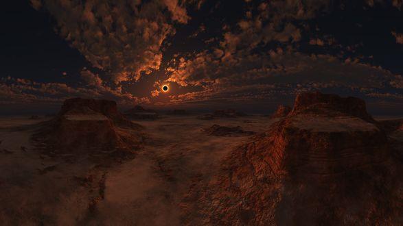 Обои Долина с горными образованиями под облачным небом, by relhom