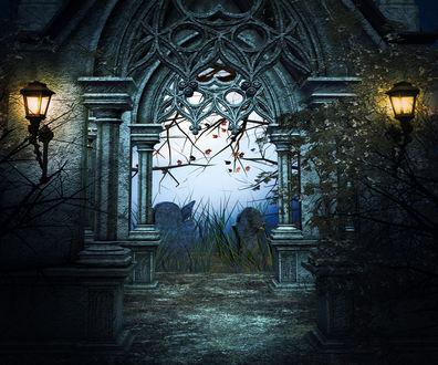 Обои Готическая ажурная арка и фонари с выходом на кладбище