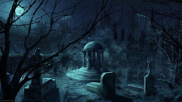 Обои Кладбище с беседкой и ангелами ночью под луной