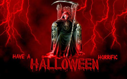 Обои Смерть на троне в свете молний, Have a horrific Halloween / Жуткого Хеллоуина