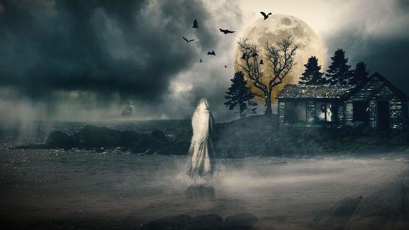 Обои Призрак девушки идет к разрушенному дому в тумане под полной луной