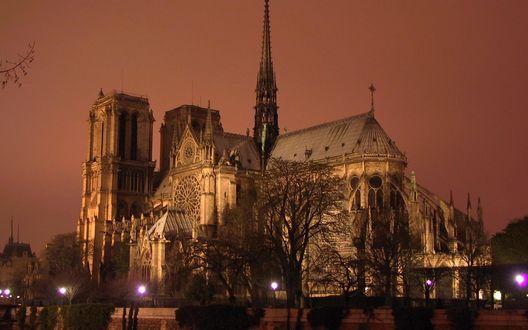 Обои Собор Парижской Богоматери вечером на закате, с подсветкой, Paris, France / Париж, Франция