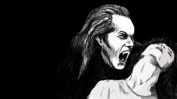 Обои Вампир кусает девушку, на черном фоне
