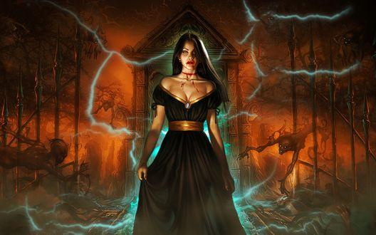 Обои Вампирша и демоны в свете молний на кладбище ночью