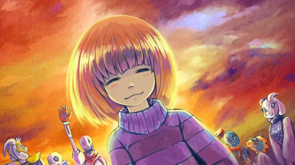 Обои Мило улыбающаяся Фриск / Frisk и другие персонажи игры Undertale на фоне зарева / A Good Time, by saturnspace