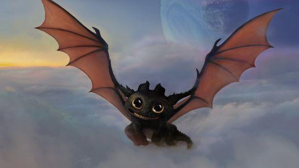 Обои Night Fury (Toothless) / Ночная Фурия (Беззубик) из мультфильма How to Train Your Dragon / Как приручить дракона