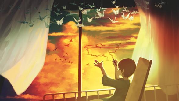 Обои Мальчик рисует птицу на стекле окна больничной палаты
